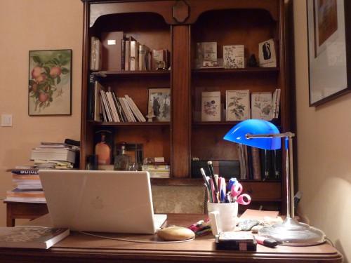 fiction,vertige de la fiction,preben mhorn,enseigne de vaisseau mhorn,personnage,roman,blog littéraire de christian cottet-emard,christian claude louis cottet-emard,littérature,rêve,écrire,rêver sa vie,vivre ses rêves,bureau,macbook,clavier,stylo,crayon,livres,pâte de verre,lampe de bureau,lampe bleue,étagère,auteur,écrivain,romancier,songe-creux,inadapté