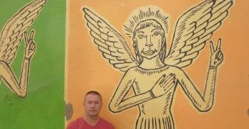 interlude,photo,lisbonne,blog littéraire de christian cottet-emard,mur peint,ange,photographie